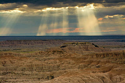 Approaching Storm And Crepuscular Rays Art Print