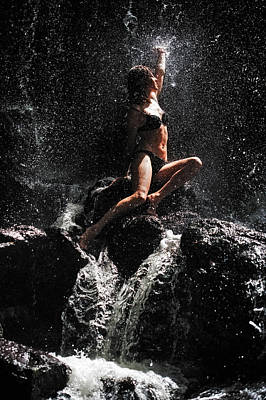 Photograph - Approaching The Light. Anna At Eureka Waterfalls. Mauritius by Jenny Rainbow