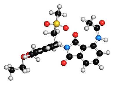 Dermatology Photograph - Apremilast Psoriasis Drug Molecule by Molekuul