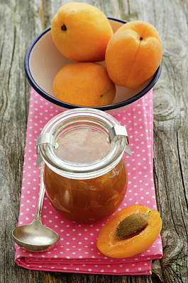 Jar Photograph - Apricot Jam With Bowl Of Apricots On by Westend61