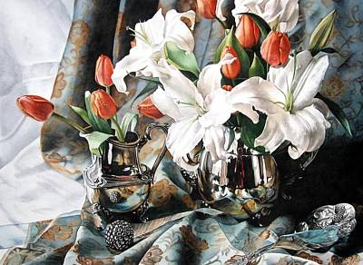 Silver Pitcher Painting - Apricot Tulips by Kimberly Meuse