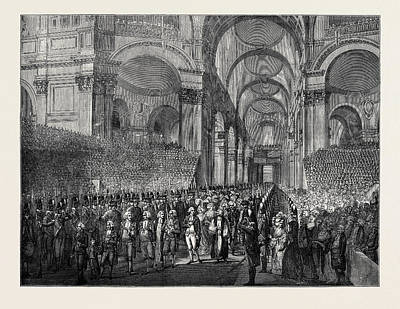 St Paul Drawing - April 23, 1789 King George IIi. Visiting St by English School
