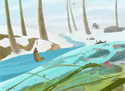 Snow Drifts Digital Art - April Forest by Dmitry Rezchikov