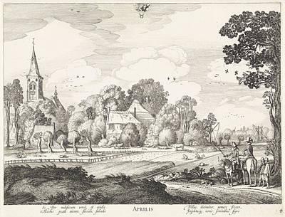 Fence Drawing - April, Jan Van De Velde II by Jan Van De Velde (ii) And Claes Jansz. Visscher (ii)