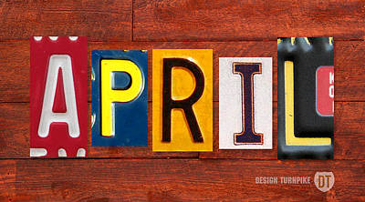 Handmade Mixed Media - April License Plate Name Sign Fun Kid Room Decor by Design Turnpike