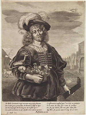 April Young Man With Flower Basket, Anonymous Art Print by Anonymous And Jonas Suyderhoef And Joachim Von Sandrart