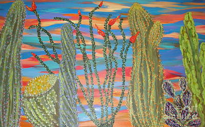 Totem Pole Painting - April's Cacti Garden by Marcia Weller-Wenbert