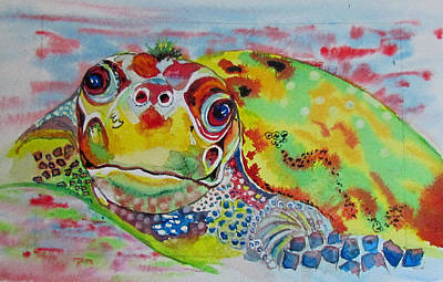 Painting - April's Turtle by Susan Duxter
