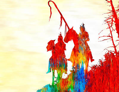 Painting - Apsaroke War Group  by Rick Mosher