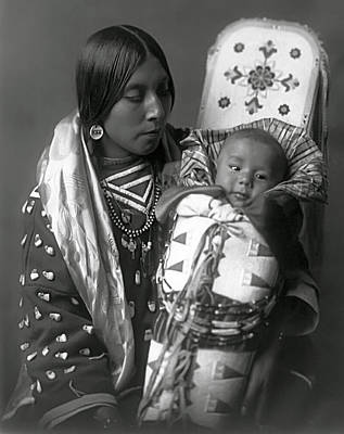 Woman And Baby Photograph - Apsaroke Woman And Baby  1908 by Daniel Hagerman