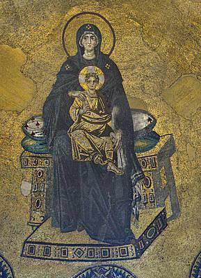 Child Jesus Photograph - Apse Mosaic Hagia Sophia Virgin And Child by Ayhan Altun