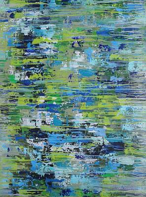 Painting - Aqua And Lime Drip by Elizabeth Langreiter