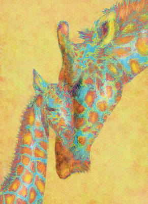 Mother And Baby Digital Art - Aqua And Orange Giraffes by Jane Schnetlage