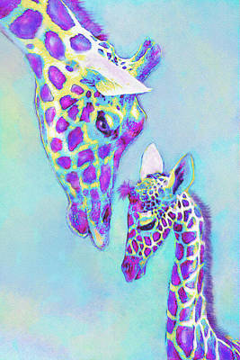Aqua And Purple Loving Giraffes Art Print by Jane Schnetlage