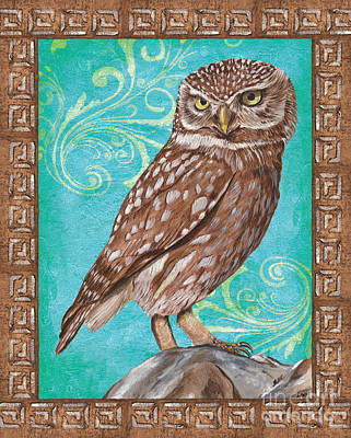 Border Painting - Aqua Barn Owl by Debbie DeWitt