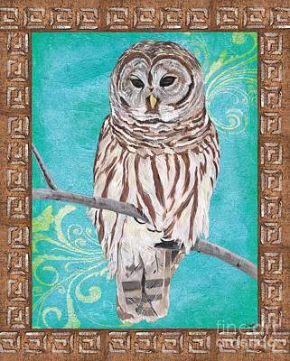 Border Painting - Aqua Barred Owl by Debbie DeWitt