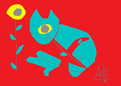 Cyprus Cats Drawing - Aqua Cat 2 by Anita Dale Livaditis