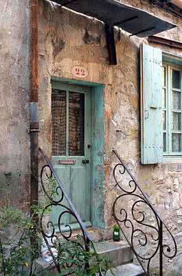 Photograph - Aqua Door At Number 22 In Viviers France by Carla Parris