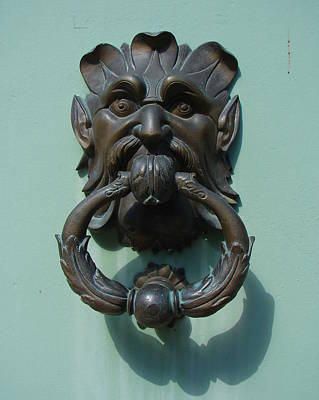 Photograph - Aqua Door Knocker by Ramona Johnston