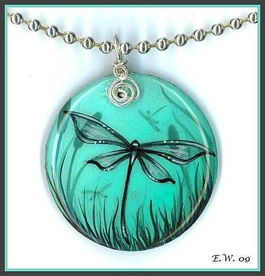 Lacquer Painting - Aqua Dragonfly Pendant by Elaina  Wagner