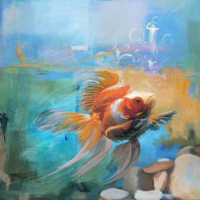 Goldfish Painting - Aqua Gold by Catf
