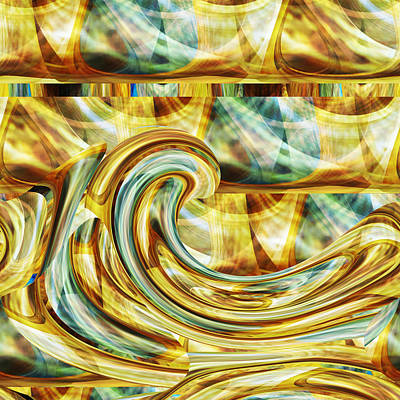 Digital Art - Aqua Gold - Fine Art Digital Abstract By Rd by rd Erickson