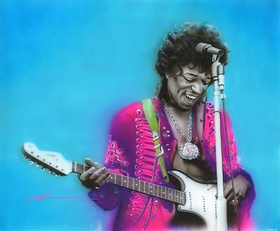 Sixties Painting - Jimi Hendrix - ' Aqua Haze ' by Christian Chapman Art