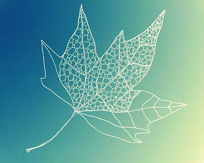 Featured Tapestry Designs - Aqua Leaf Study 2 by Cathy Jacobs
