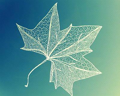 Aqua Leaf Study 3 Art Print