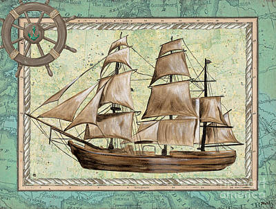 Tall Ship Painting - Aqua Maritime 1 by Debbie DeWitt