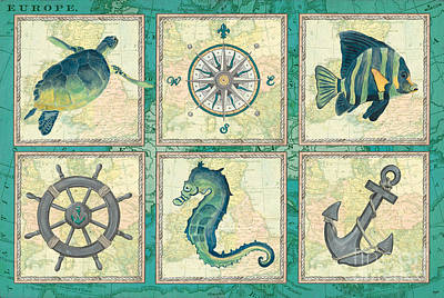 Aqua Maritime Patch Art Print by Debbie DeWitt