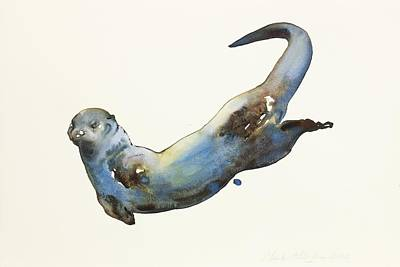 Otter Painting - Aqua by Mark Adlington