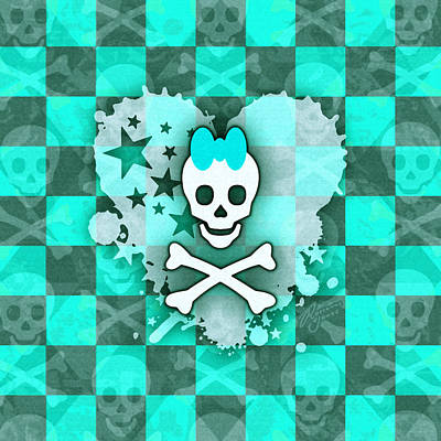 Digital Art - Aqua Princess Skull Heart by Roseanne Jones