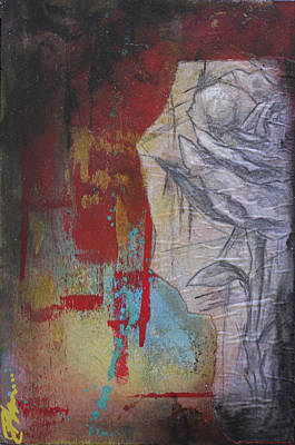 Red White And Blue Mixed Media - Aqua Red Rose by Bhreon Bynum