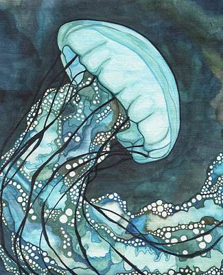 Surrealism Wall Art - Painting - Aqua Sea Nettle by Tamara Phillips