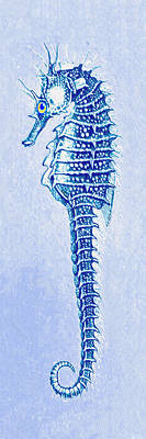 Digital Art - Aqua Seahorse- Left by Jane Schnetlage