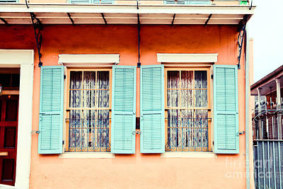 Print featuring the photograph Aqua Shutters by Sylvia Cook