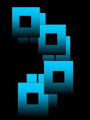Art Print featuring the digital art Aqua Squares by Gayle Price Thomas