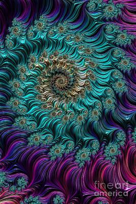 Aqua Swirl Art Print by Steve Purnell
