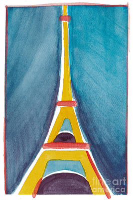 Painting - Aqua Yellow Eiffel Tower by Robyn Saunders