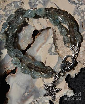 Sea Wall Art - Jewelry - Aquamarine And Smoky Quartz Starfish Bracelet by Megan Cohen