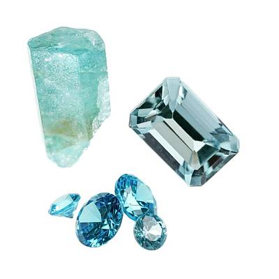 Uncut Photograph - Aquamarine Gemstones And Crystal by Science Photo Library