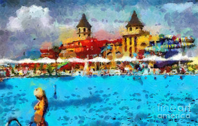 Sunshade Painting - Aquapark by Magomed Magomedagaev