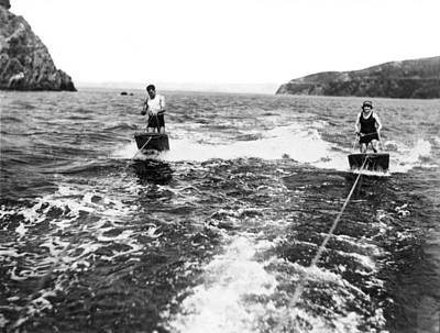 Photograph - Aquaplane Ride On Sf Bay by Underwood Archives