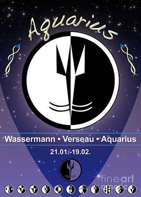 Signs Of The Zodiac Digital Art - Aquarius by Fabian Roessler