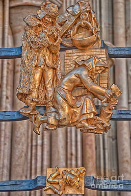 Prague Photograph - Aquarius Zodiac Sign - St Vitus Cathedral - Prague by Ian Monk
