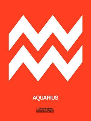 Capricorn Digital Art - Aquarius Zodiac Sign White On Orange by Naxart Studio