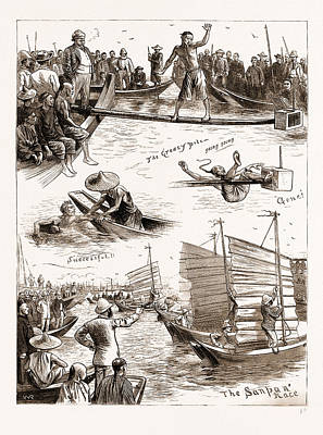 Pole Drawing - Aquatic Sports At Amoy, 1883 The Greasy Pole by Litz Collection