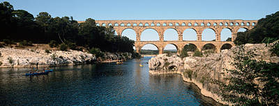 Aqueduct Across A River, Pont Du Gard Art Print by Panoramic Images