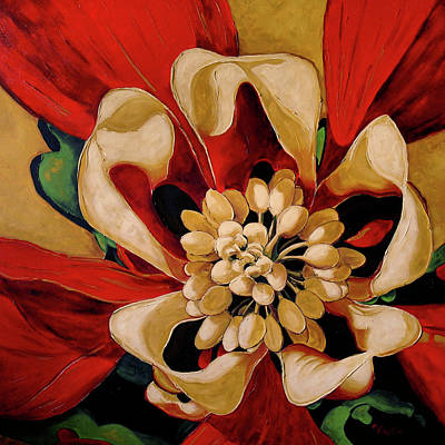 Flower Center Painting - Aquilegia by Vickie Warner